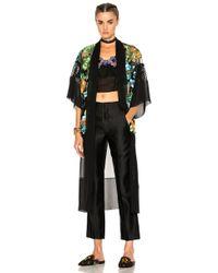 Alberta Ferretti Floral Embroidered Sheer Kimono - Black