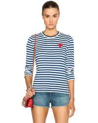 COMME DES GARÇONS PLAY Striped Cotton Red Heart Tee - Blue