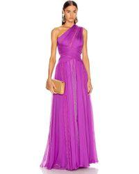 Zuhair Murad Silk Chiffon Long Dress - Purple