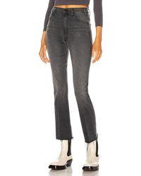 """Mother Kurz geschnittene Jeans """"The Hustler"""" mit Fransendetails am Saum - Grau"""