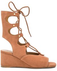 Chloé Suede Foster Wedge Sandals - Brown