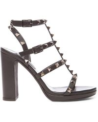 Valentino Noir Rockstud Leather Gladiator Heels T.95 - Black