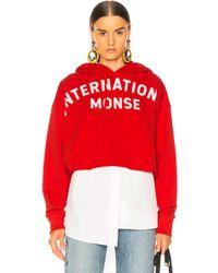 Monse Cropped International Hoodie - Red