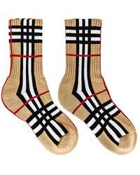 Burberry Karierte Socken im Vintage-Look - Mehrfarbig