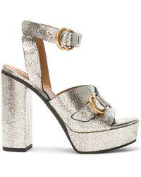 Chloé Cracked Leather Kingsley Sandals - Multicolour