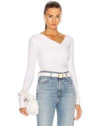 Enza Costa Brushed Supima Cotton Asymmetrical Neck Long Sleeve Top - White