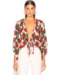 Adriana Degreas - Fiore Shirt With Voluminous Sleeves - Lyst