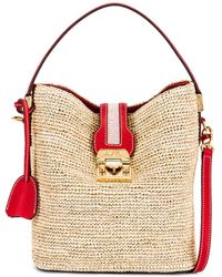 Mark Cross Murphy Raffia Bucket Bag - Red