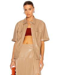 Jonathan Simkhai Joselin Vegan Leather Shirt - Brown