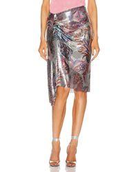 Paco Rabanne Metallic Print Wrap Skirt