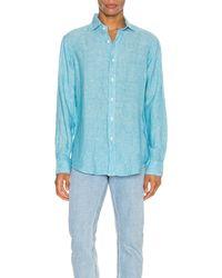 Polo Ralph Lauren Linen Chambray Long Sleeve Button Up Shirt - Blau
