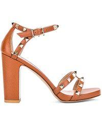 Valentino Rockstud Ankle Strap Sandals - Braun
