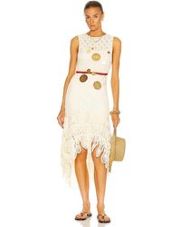 Loewe Paula's Ibiza Long Asymmetric Crochet Dress - White
