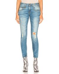 R13 Boyfriend-Jeans, Skinny-Fit - Blau