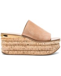 Chloé - Camille Suede Wedge Sandals In Maple Pink - Lyst