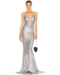 Norma Kamali Sequin Mermaid Fishtail Gown - Metallic