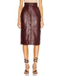 Alberta Ferretti Leather Button Skirt - Brown
