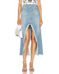 Givenchy Long Cross Over Denim Skirt - Blau