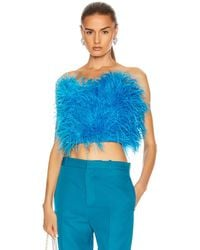 The Attico The Elsa Ostrich Feather Bandeau Crop Top - Blue