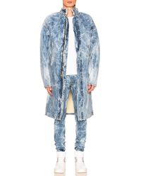 Fear Of God Selvedge Denim Holy Water Deckcoat With Sherpa Lining - Blue