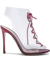 Gianvito Rossi - Leather & Plexi Helmut Lace Up Booties - Lyst