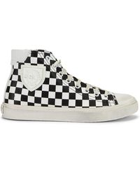 Saint Laurent - Bedford Checkered Mid Top Sneakers - Lyst