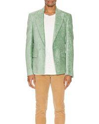 Amiri Paisley Velvet Glitter Blazer - Green