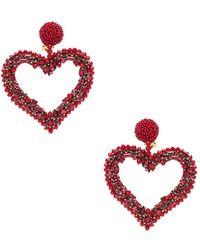 Oscar de la Renta - Jewelled Heart Earrings - Lyst