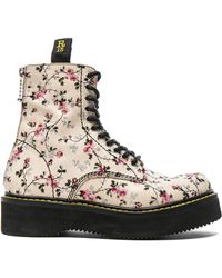 R13 - Embroidered Leather Stack Boots In Mini Rose Print - Lyst