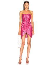 Rodarte Schulterfreies Kleid mit Raffung und Glitzerherz-Design - Pink