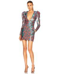 Dundas Long Sleeve V Neck Mini Dress - Multicolor