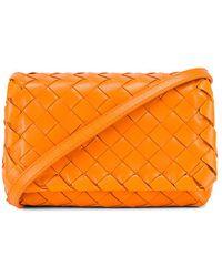 Bottega Veneta Leather Woven Crossbody Bag - Orange