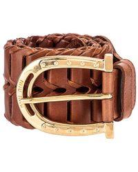 Miu Miu Wide Woven Leather Belt - Braun