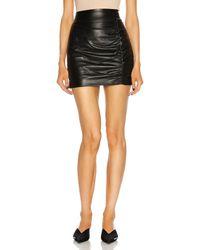 Zeynep Arcay Mini Ruched Leather Skirt - Black