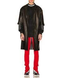 Fear Of God Leather Overcoat - Black