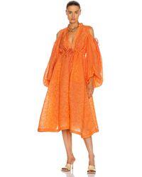 Rosie Assoulin Cold Shoulder Gathered Shirt Dress - Orange