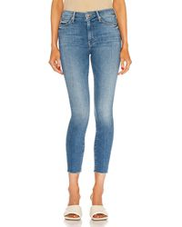 Mother Looker Ankle Fray - Blue