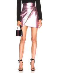 Alexandre Vauthier - Metallic Leather Zip Mini Skirt - Lyst