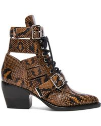 Chloé - Rylee Python Print Leather Lace Up Buckle Boots - Lyst