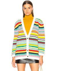Loewe - Striped Wool Blend Knit Cardigan - Lyst