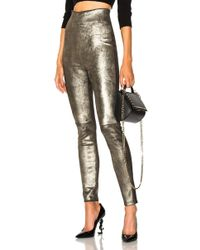 ThePerfext Jessica High Waisted Leather Leggings In Metal - Multicolour