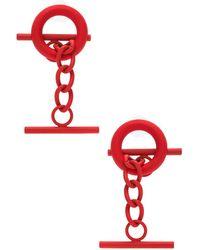 Monse Cuff Link Earrings - Red