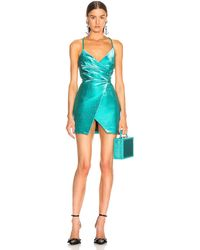 Area Wrap Effect Dress - Blue