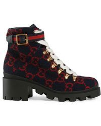 Gucci Navy Wool GG Ankle Boots - Blue