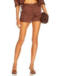 Zeynep Arcay Ruched Mini Short - Brown