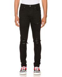 Amiri Mx1 Leather Patch Skinny Jeans - Black