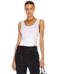 Y. Project Sleeveless Wrap Tank Top - White