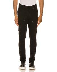 Amiri 'mx1' Pleated Leather Patch Skinny Jeans - Black