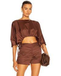 Zeynep Arcay Oversized Crop Top - Brown