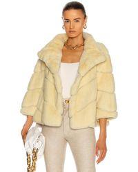 Yves Salomon Rex Rabbit Band Jacket - Yellow